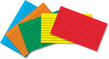Border Index Cards 3 x 5 Lined, Primary Colors, 75 Count
