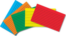 Border Index Cards 4 x 6 Lined, Primary Colors, 75 Count