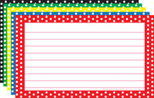 Border Index Cards 3 x 5 Polka Dot Lined