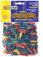 Mini Spring Clothespins - Bright Hues - 250 Pieces
