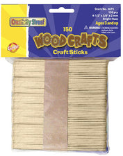 Wooden Craft Sticks - 150 Pieces Natural