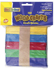 Wooden Craft Sticks - 150 Pieces Bright Hues