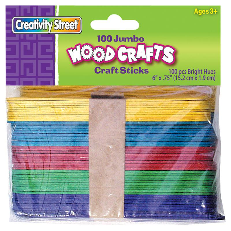 Jumbo Wood Craft Sticks - Bright - 100 Pieces