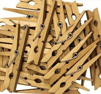 Large Wooden Spring Clothespins - 24 Pieces