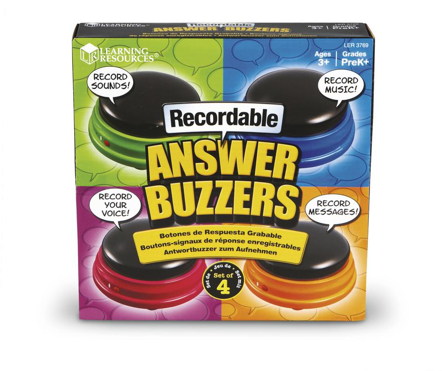 Learning Resources Recordable Answer Buzzers, Set of 4