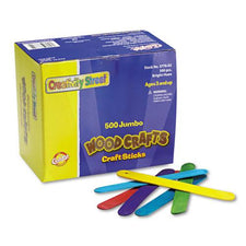 Jumbo Wood Craft Sticks - Bright - 500 Pieces