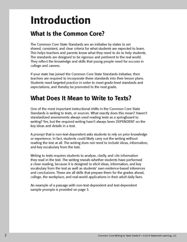Common Core Writing To Text Book Grade 6