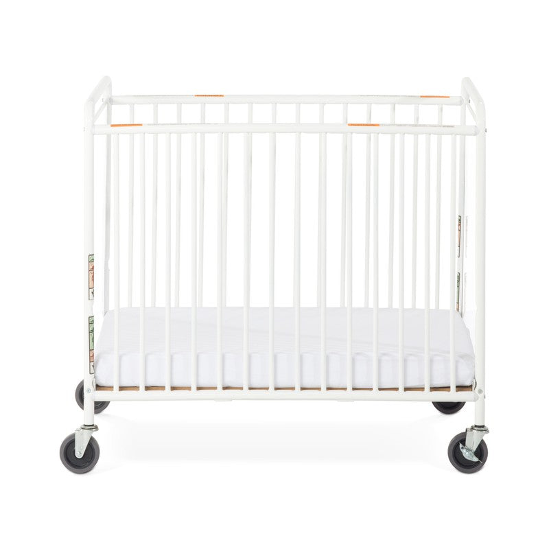 "Chelsea™ Compact Steel Non-Folding Crib, Clearview, 4"" Evacuation Casters"