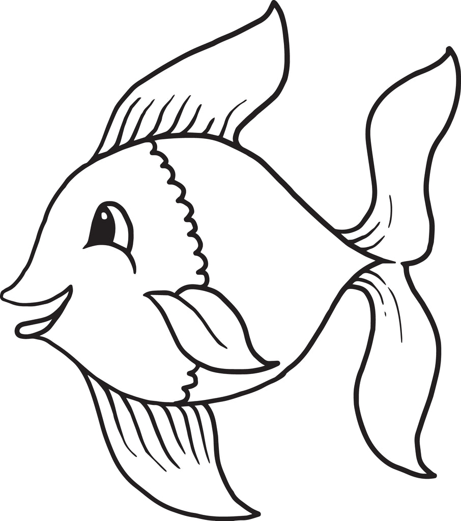 Printable Cartoon Fish Coloring Page for Kids - SupplyMe