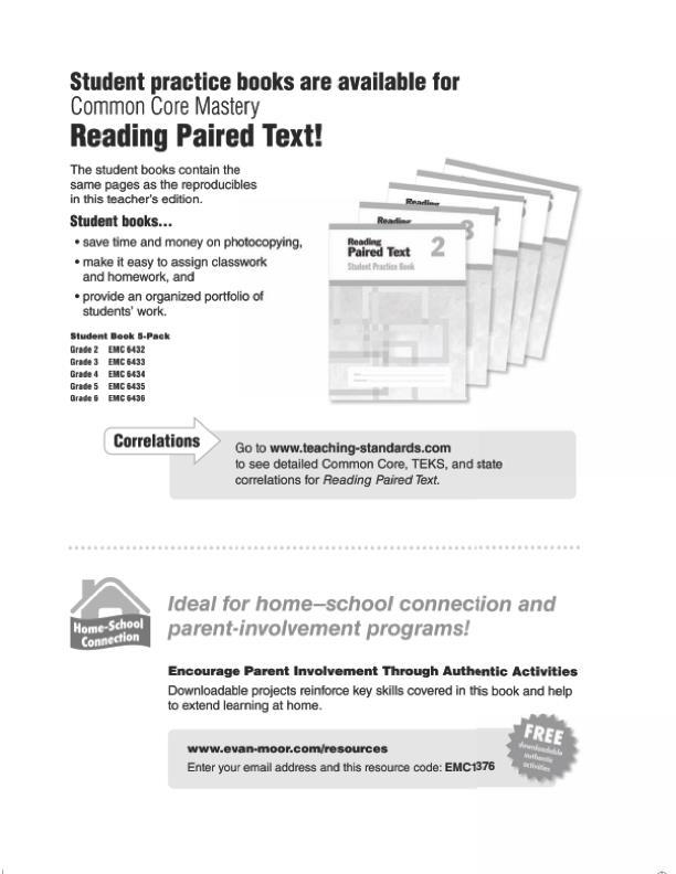 Evan Moor Reading Paired Text Lessons For Common Core Mastery Grade 6