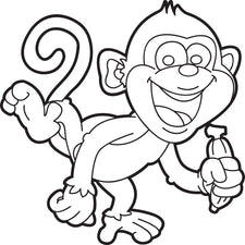Cartoon Monkey Coloring Page #1