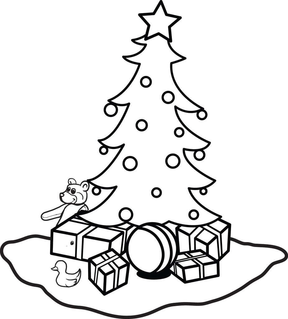Printable Christmas Tree Coloring Page for Kids #1 - SupplyMe