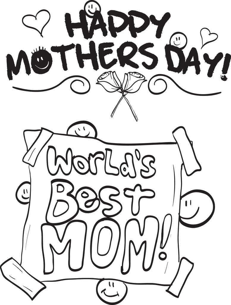 Free, Printable World's Best Mom! Mother's Day Coloring