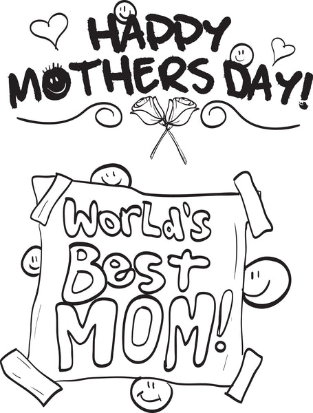 FREE Printable World's Best Mom! Mother's Day Coloring