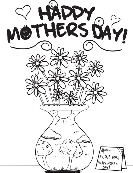 Free, Printable Mother's Day Flowers Coloring Page for