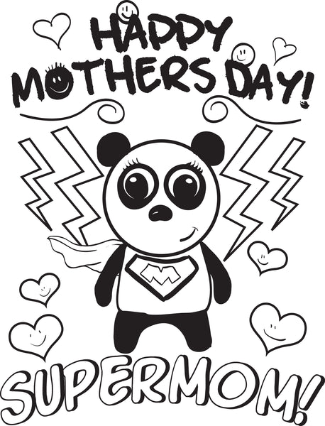 Free, Printable Supermom Mother's Day Coloring Page for