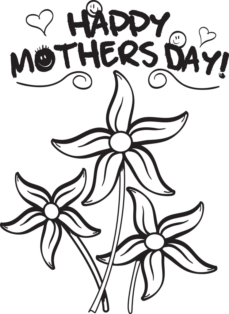 Mother's Day Flowers Coloring Page #2