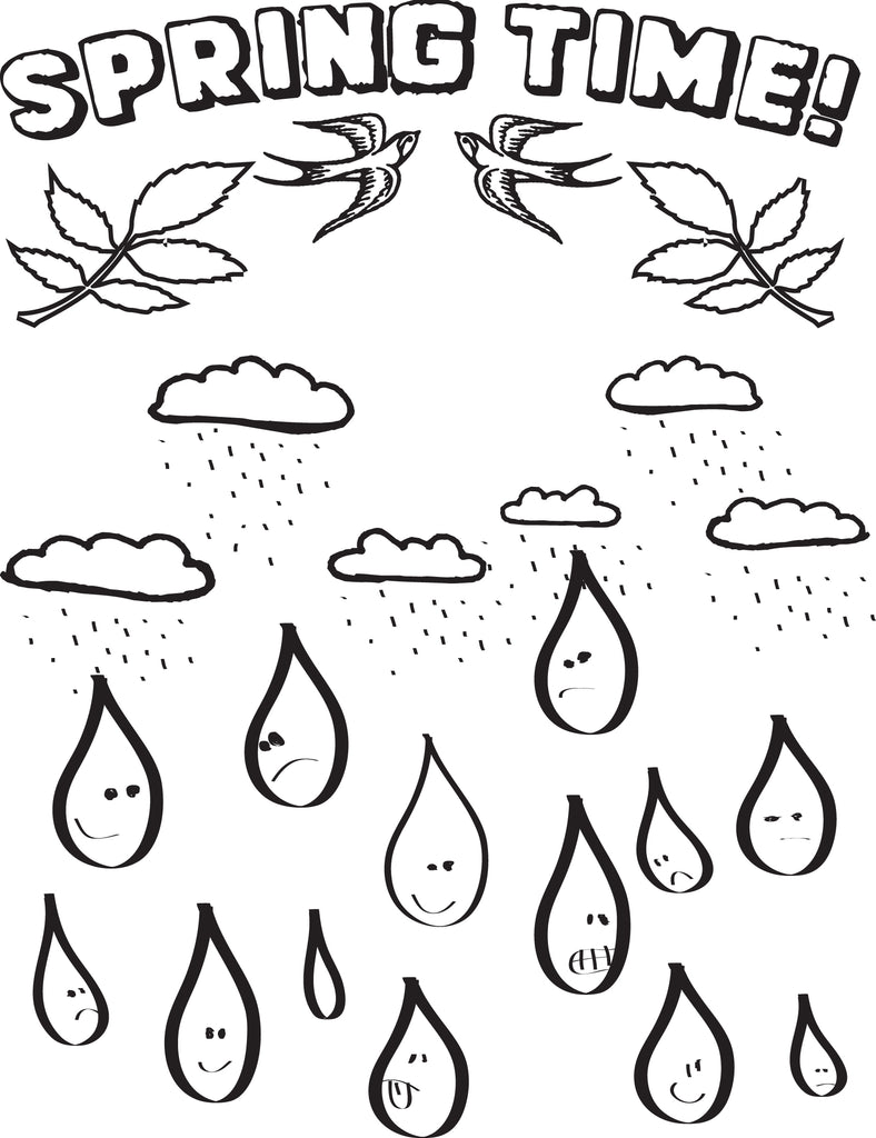 Raindrops Spring Coloring Page