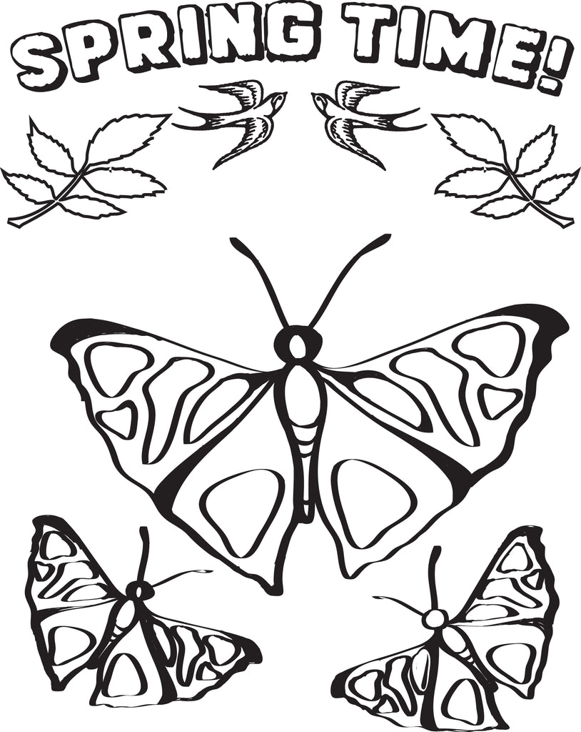 FREE Printable Butterflies Spring Coloring Page for Kids