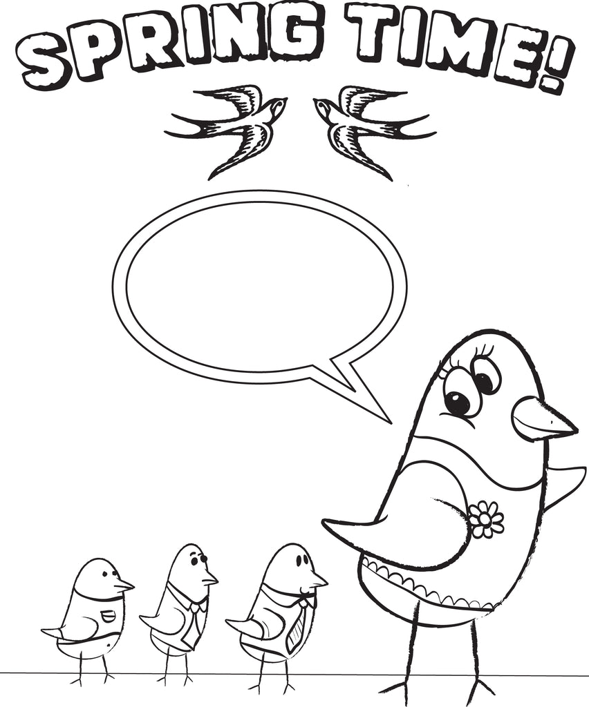 Cartoon Birdies Spring Coloring Page