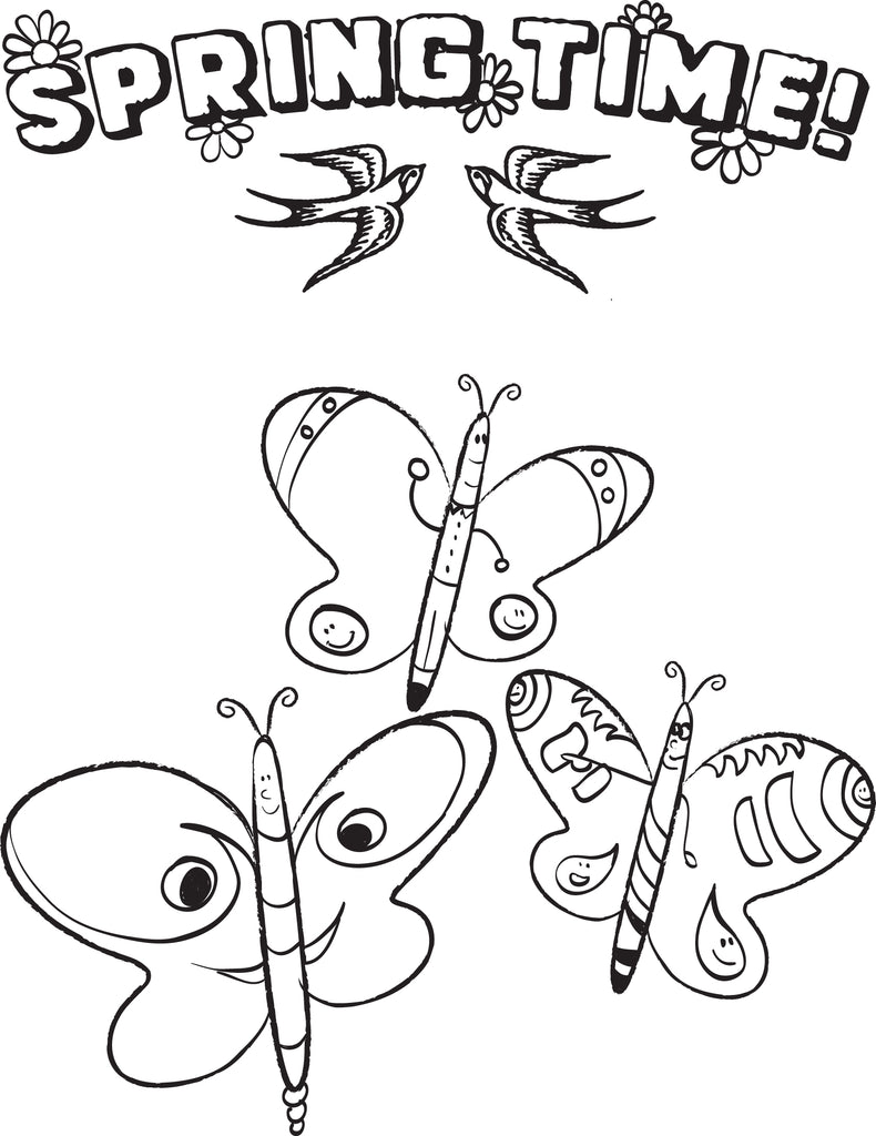 FREE Printable Spring Time Butterfly Coloring Page for Kids – SupplyMe