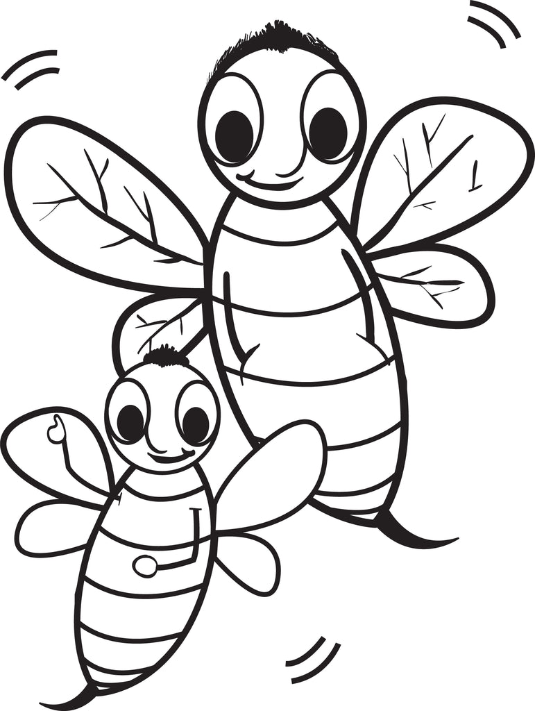 FREE Printable Cartoon Bee Coloring Page for Kids SupplyMe