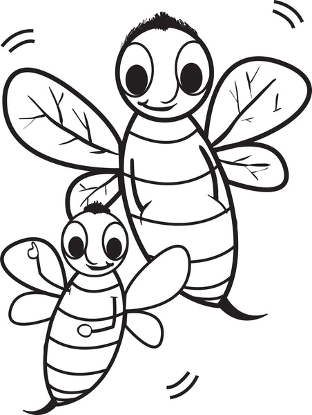 Free, Printable Cartoon Bee Coloring Page for Kids