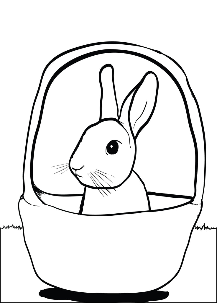 Cute Bunny in a Basket Coloring Page