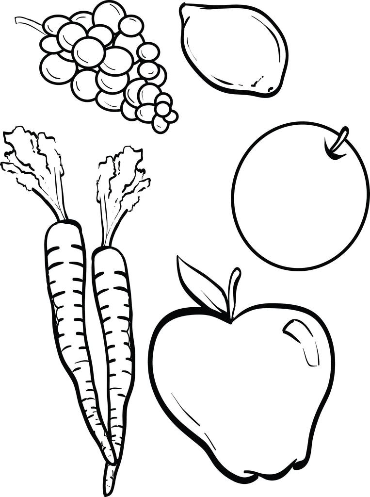 FREE Printable Fruits and Vegetables Coloring Page for
