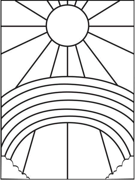 Printable Rainbow and Sun Coloring Page for Kids