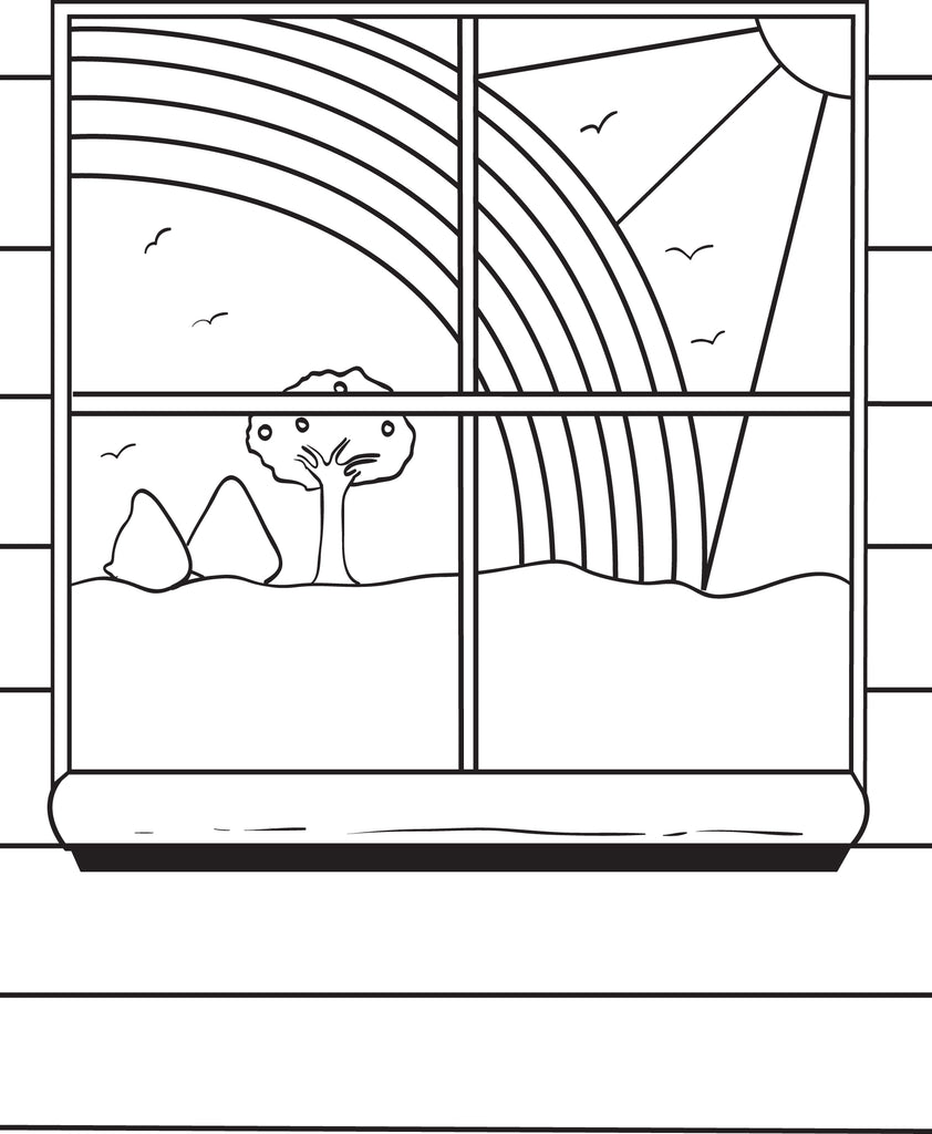 Beautiful Sun and Rainbow Coloring Page
