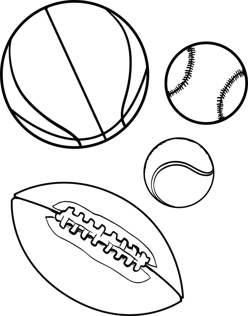 free printable sports balls coloring page for kids supplyme. Black Bedroom Furniture Sets. Home Design Ideas
