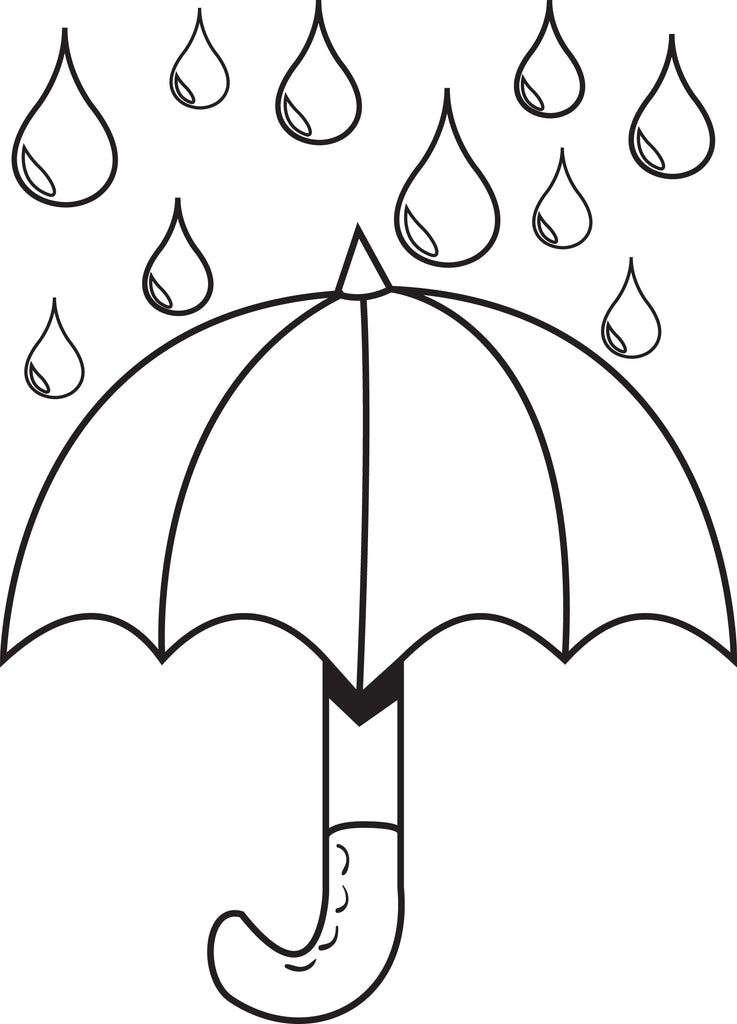 FREE Printable Umbrella with Raindrops Spring Coloring