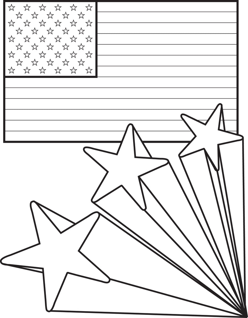 Printable American Flag With Stars 4th Of July Coloring Page For
