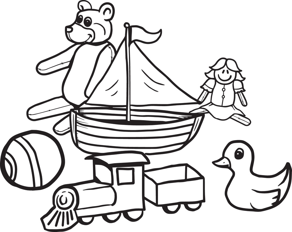 Download Free, Printable Christmas Toys Coloring Page for Kids - SupplyMe
