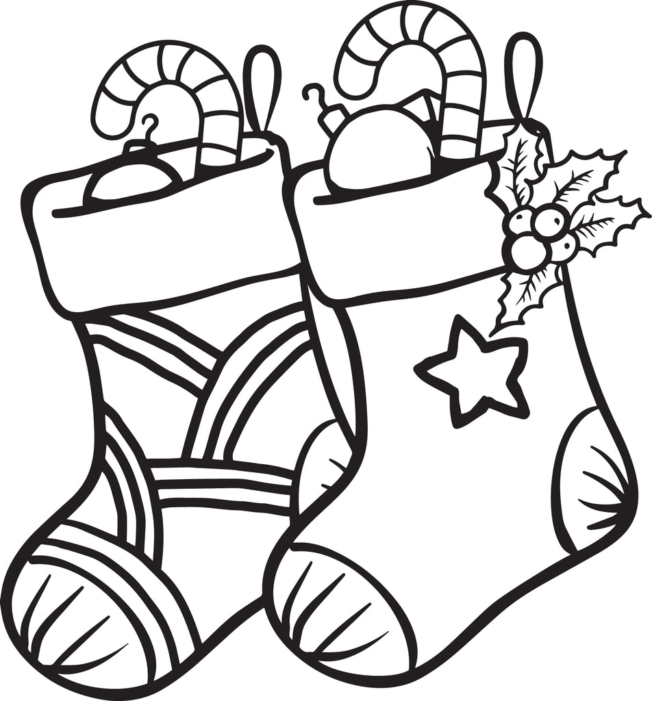 FREE Printable Christmas Stockings Coloring Page for Kids