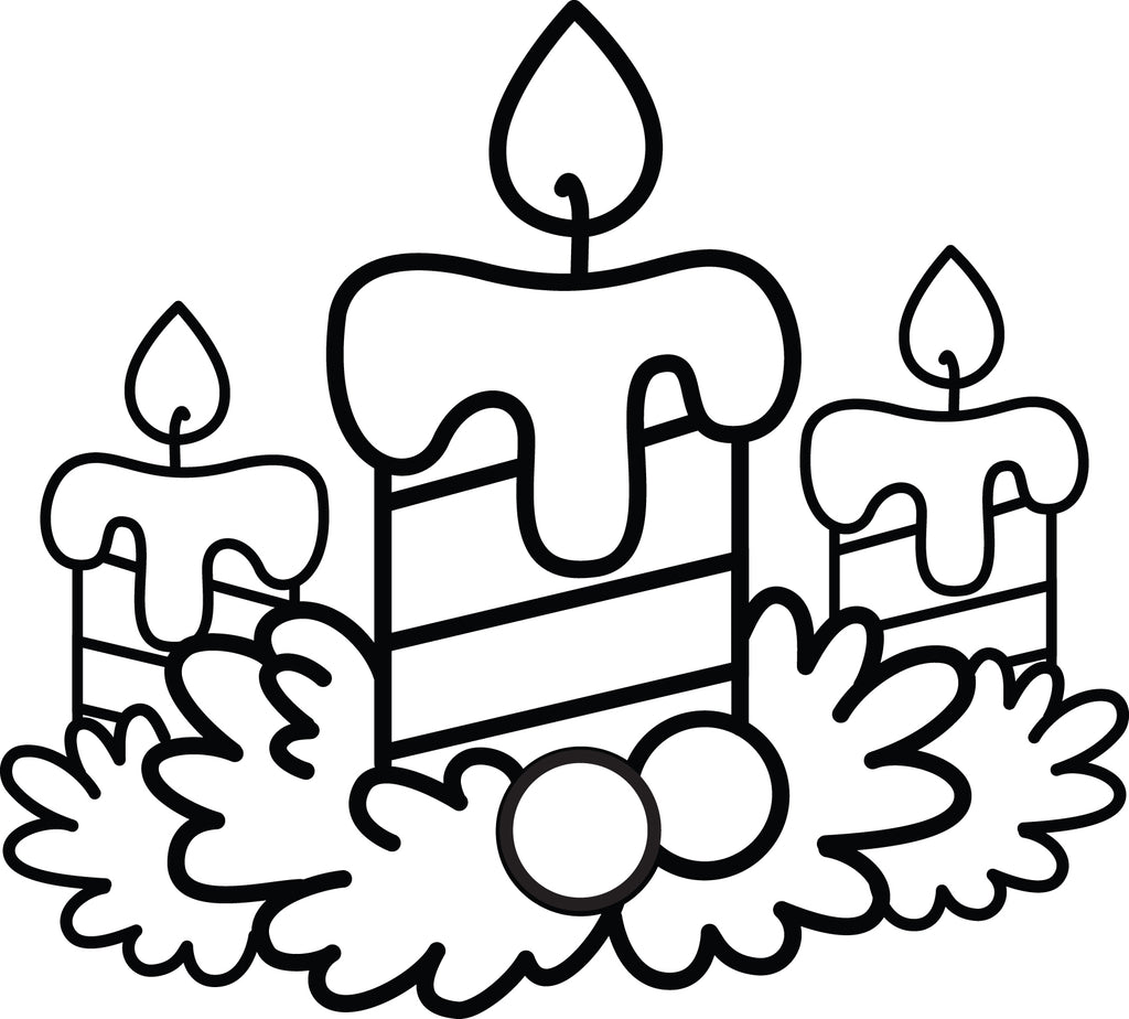 christmas candles coloring page 2