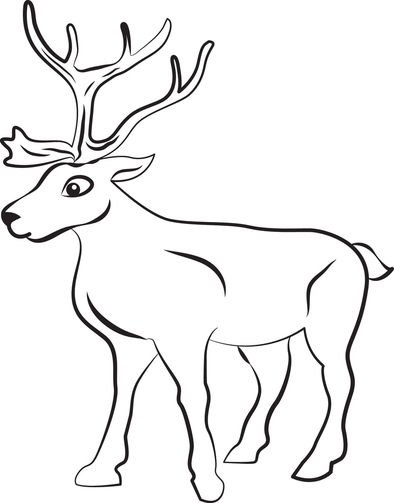 FREE Printable Reindeer Coloring Page for Kids #1 - SupplyMe