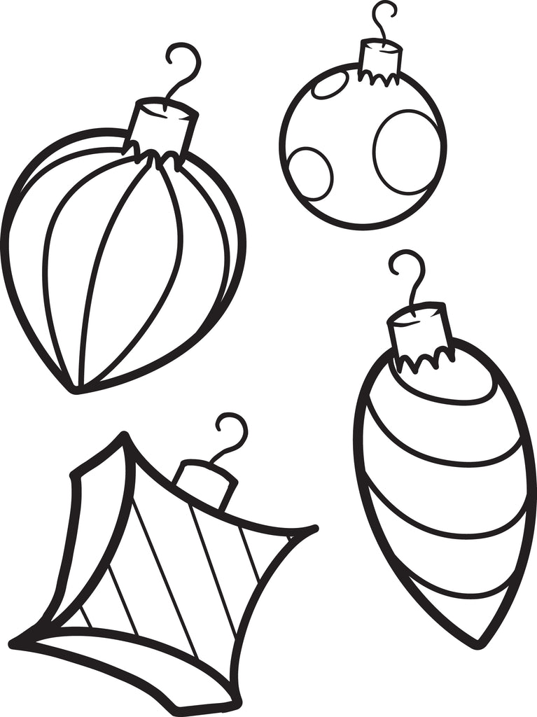 FREE Printable Christmas Ornaments Coloring Page for Kids 1