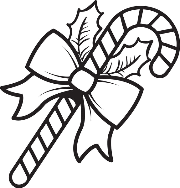 Printable Candy Cane Coloring Page for Kids #1