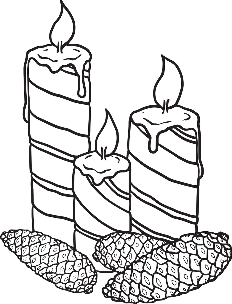 christmas candles coloring page 1