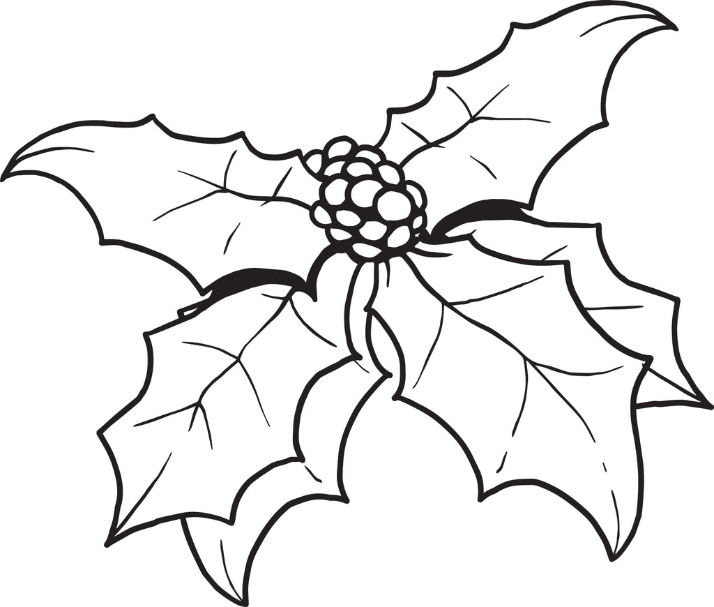 FREE Printable Christmas Holly Coloring Page for Kids #1