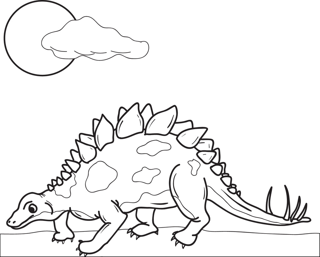 Printable Stegosaurus Dinosaur Coloring Page For Kids – SupplyMe