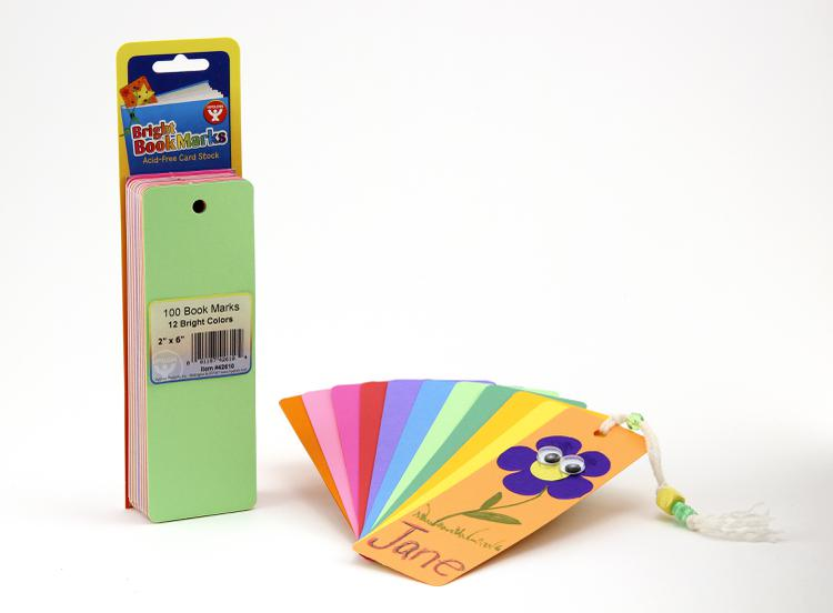 Blank Bookmarks - 100 Assorted Colors