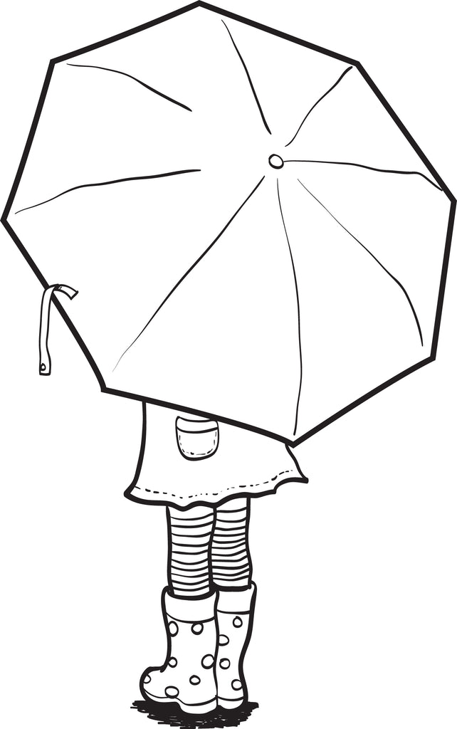 FREE Printable Coloring Page of a Girl Holding an Umbrella – SupplyMe