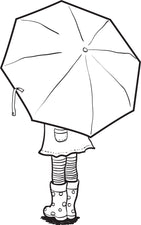 Girl Holding an Umbrella Spring Coloring Page