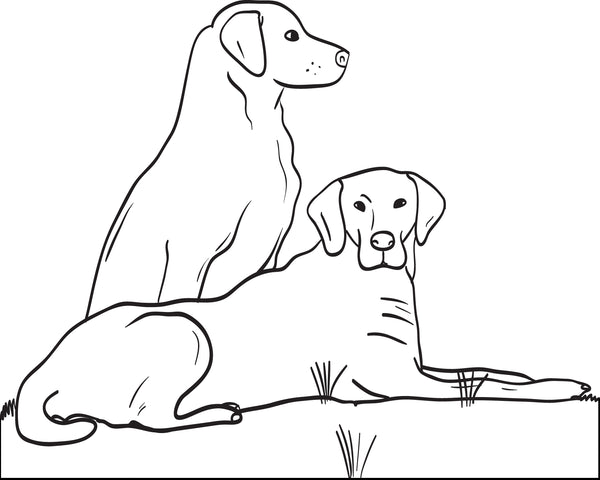 Free, Printable Two Big Dogs Coloring Page for Kids