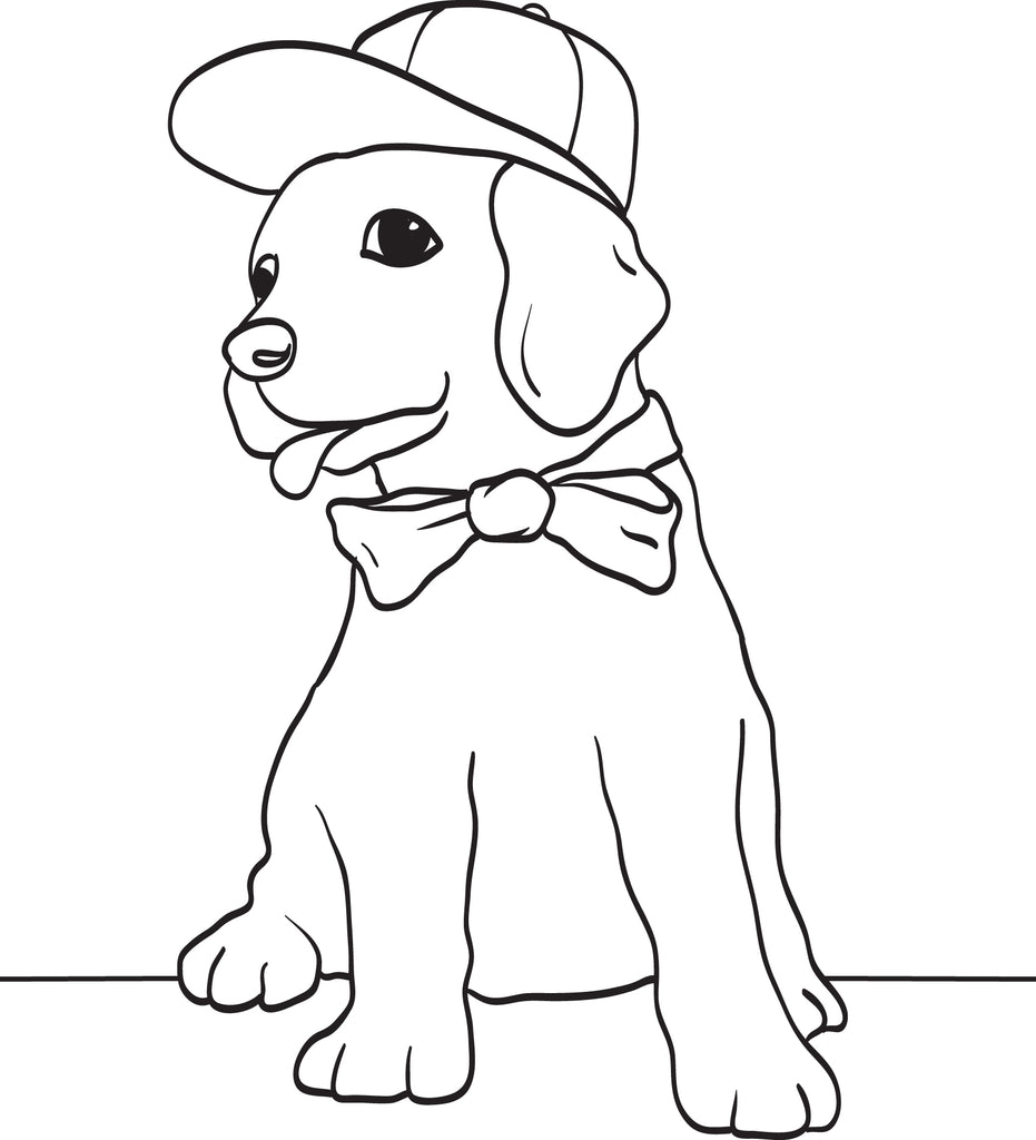 Puppy Dog Wearing a Baseball Cap and Bow Tie Coloring Page