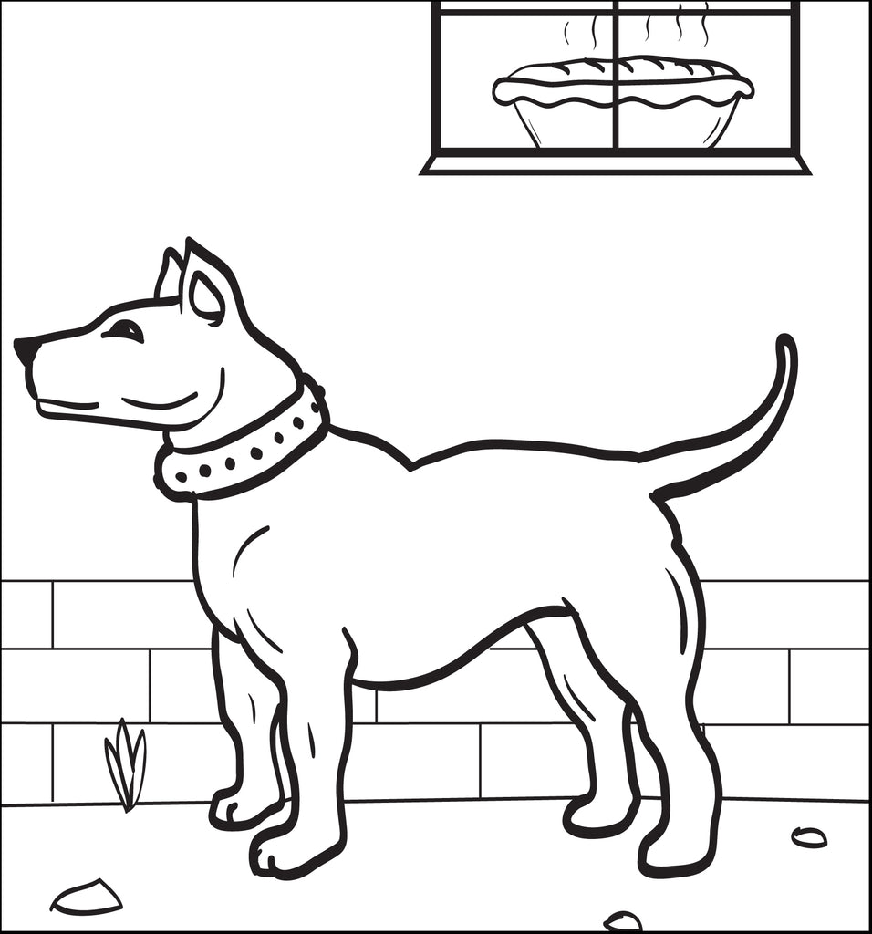 Coloring Page of a Dog Smelling Pie