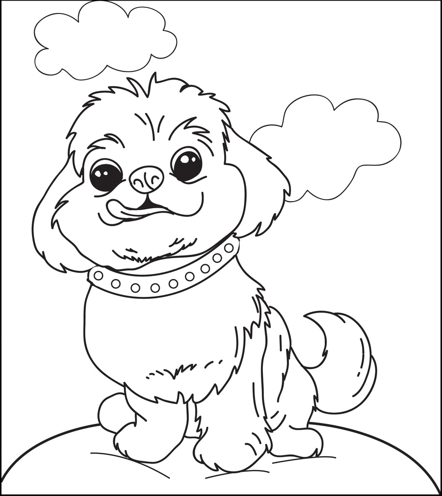Printable Fluffy Puppy Dog Coloring Page for Kids - SupplyMe